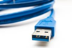 蓝色usb连接器关闭 免版税库存照片