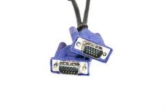 蓝色VGA缆绳 免版税库存照片