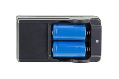 蓝色W 16340李thium电池, 1200 mAh 3 与黑c的7个V李离子 免版税图库摄影