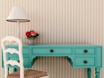 蓝色wark表和椅子 库存照片