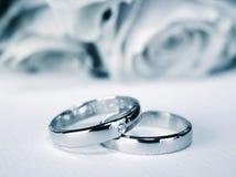蓝色weddingrings 库存图片