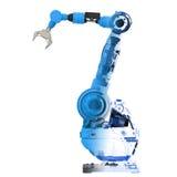 蓝色wireframe机器人胳膊 免版税图库摄影