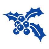 蓝色xmas莓果象,简单的样式 库存例证