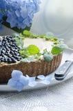 蓝草莓饼用薄菏和八仙花属 免版税库存图片