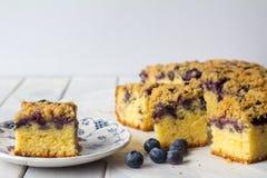 蓝莓与拷贝空间的碎屑蛋糕 库存照片