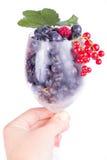 蓝莓和莓在玻璃用手 库存照片