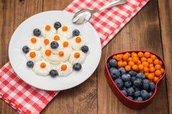 蓝莓和鼠李被计划以心脏的形式用奶油色蛋白甜饼 木背景 顶视图 特写镜头 库存照片