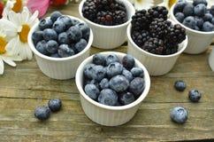 蓝莓和黑莓在土气木桌上的庭院雏菊 免版税库存照片