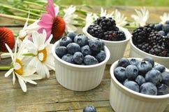 蓝莓和黑莓在土气木桌上的庭院雏菊 图库摄影
