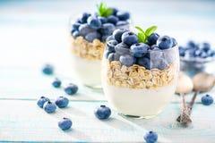 蓝莓和muesli早餐两个人的 免版税图库摄影