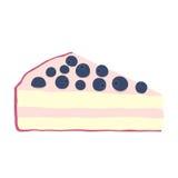 蓝莓在平的样式的乳酪蛋糕例证 被隔绝的蛋糕莓果 库存图片