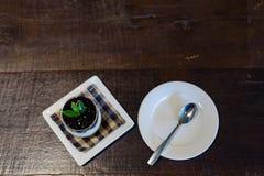 蓝莓在杯的乳酪蛋糕食谱 库存照片