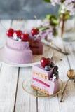 蓝莓奶油甜点蛋糕 免版税库存照片