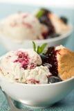 蓝莓奶油色冰漩涡 免版税库存照片