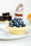 蓝莓奶油色杯形蛋糕 图库摄影