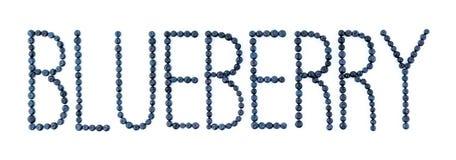 蓝莓字体 空白背景的蓝莓 越桔果子信件 免版税库存图片