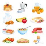 蓝莓早餐食品图标挤奶薄煎饼圆滑的人奶蛋烘饼酸奶 库存例证