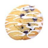 蓝莓曲奇饼在白色的结冰松饼 免版税图库摄影