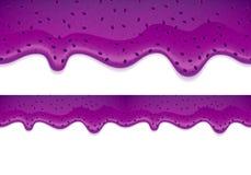 蓝莓果酱滴水  水平的边界 免版税库存图片