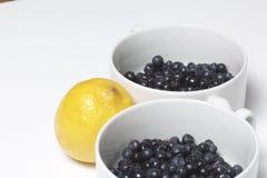 蓝莓涌入白色杯子和柠檬,切成了两半 在白色背景的谎言 免版税图库摄影
