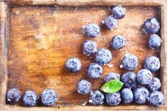 蓝莓特写镜头在一个老木盘子的 图库摄影