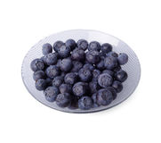 蓝莓碗水晶查出的白色 免版税库存照片
