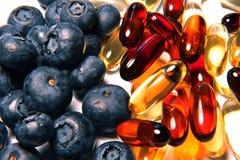 蓝莓维生素 免版税库存图片
