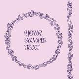 蓝莓花卉手拉的花圈和装饰品在里面紫色颜色和文本 免版税图库摄影