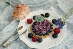 蓝莓蛋糕吃我 免版税图库摄影