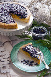 蓝莓蛋糕奶油 免版税库存照片