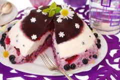 蓝莓蛋糕果冻 免版税库存图片