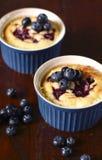蓝莓蛋糕柠檬布丁 免版税库存照片