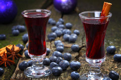 蓝莓被仔细考虑的酒 库存图片