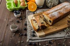蓝莓酸奶甜点面包 免版税库存照片