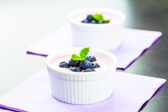 蓝莓酸奶 免版税图库摄影