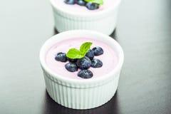 蓝莓酸奶 库存照片