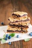 蓝莓面包屑条 图库摄影