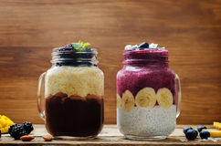 蓝莓香蕉希腊酸奶和巧克力香蕉芒果smoothi 库存照片