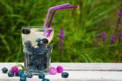 蓝莓水用在一张木桌上的柠檬 库存照片