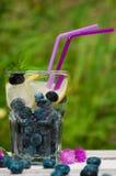 蓝莓水用在一张木桌上的柠檬 免版税库存照片