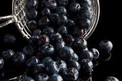 蓝莓从从边的杯子过滤器溢出 免版税库存图片
