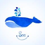 蓝鲸例证 水彩鲸鱼witn 免版税图库摄影