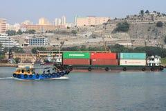 蓝巴勒海峡看法在香港 库存照片
