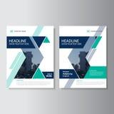 蓝绿色三角几何传染媒介年终报告传单小册子飞行物模板设计,书套布局设计
