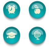 蓝绿色教育网按钮集合 库存照片