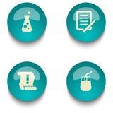 蓝绿色教育网按钮集合 图库摄影
