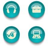 蓝绿色教育网按钮集合 库存图片