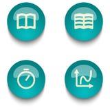 蓝绿色教育网按钮集合 免版税库存照片