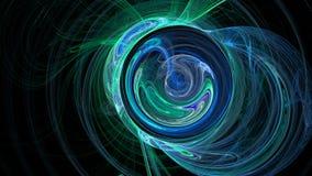 蓝绿色曲线和圈子抽象背景 免版税库存图片