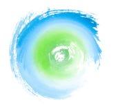 蓝绿色被绘的漩涡Eco概念标志 免版税库存图片